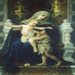 William Bouguereau (1825-1905)  La Vierge, L'Enfant Jesus et Saint Jean Baptiste [The Virgin, Baby Jesus and Saint John the Baptist]  Oil on canvas, 1881  75 x 43 5/8 inches (190.5 x 111 cm)  Herbert F. Johnson Museum of Art Cornell University